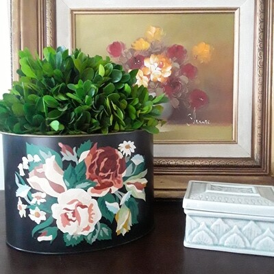 Vintage Tole Paint-by-Numbers Floral Cachepot