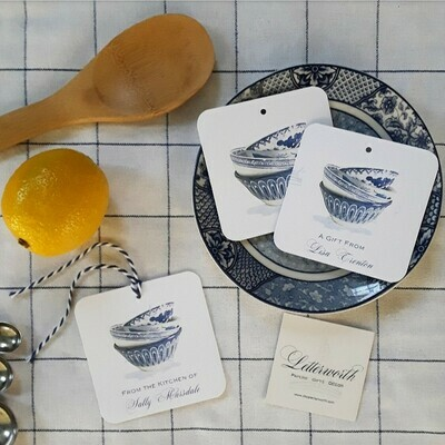 Blue and White Chinoiserie Bowls Watercolor Gift Tags by Letterworth (Set of 12)