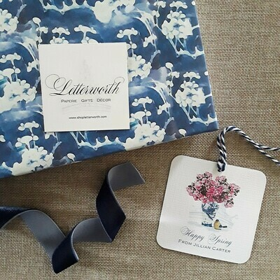 Pink Azaleas in Blue and White Chinoiserie Vase Watercolor Gift Tags by Letterworth (Set of 12)