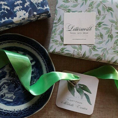 Watercolor Eucalyptus Leaf Gift Wrapping Paper by Letterworth (2 Colors Available)