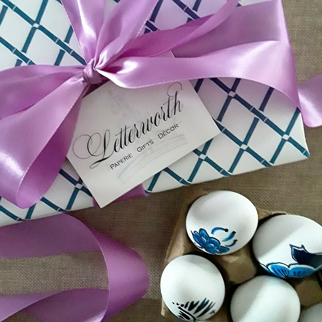 Classic Blue and White Bamboo Trellis Gift Wrapping Paper by Letterworth