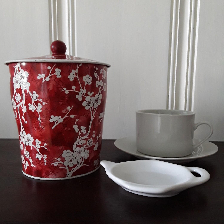 Vintage Red and White Prunus Blossom English Lidded Tea Tin