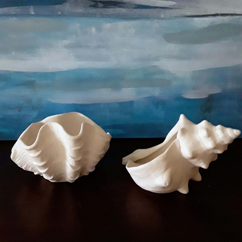 Set of 2 Vintage Bisque Porcelain Shell Votive Candle Holders