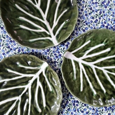 Set of 3 Vintage Ceramic Lettuce Leaf Plates Made in Portugal