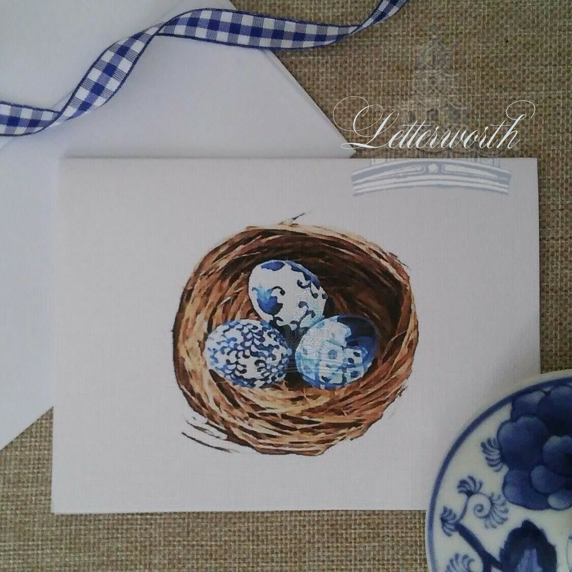 Chinoiserie Bird Nest Note Cards by Letterworth (Set of 8)