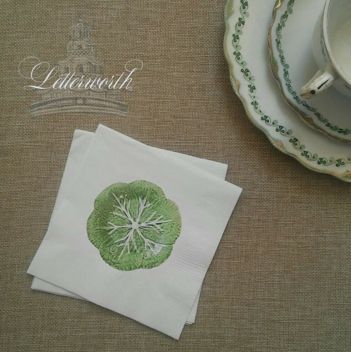 Lettuce Ware Paper Cocktail Napkins Exclusively by Letterworth
