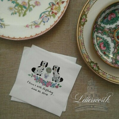 Staffordshire Dog Floral Paper Cocktail Napkins Exclusively by Letterworth