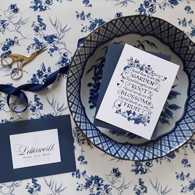 Hand-Embossed Blue and White Longfellow Note Cards by Letterworth (Set of 8)