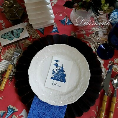 Chinoiserie Blue Pagoda Place Cards by Letterworth (Set of 12)