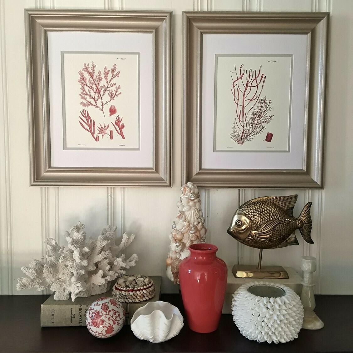 Set of 2 Matted and Framed Vintage Red Coral Prints