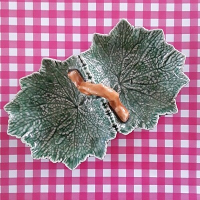 Vintage Bordallo Pinheiro Green Ceramic Leaf Dish