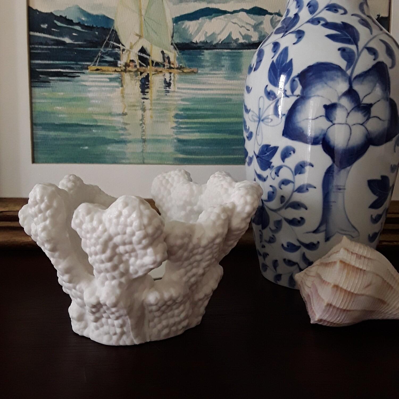 Vintage Bisque Porcelain Coral Votive Candle Holder