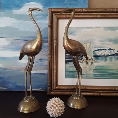 Pair of Vintage Brass Crane Figurines
