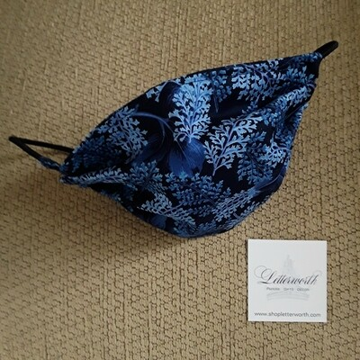 Blue Botanical Fabric Face Covering/Mask by Letterworth