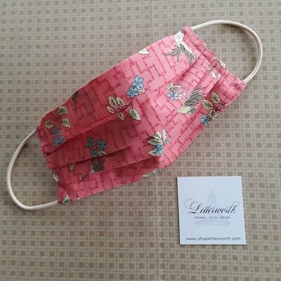 Coral Chinoiserie Bird Fabric Face Covering/Mask by Letterworth