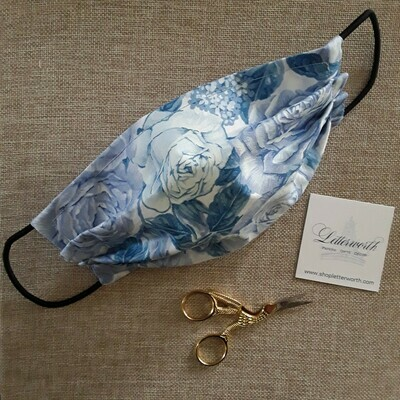Blue and White Floral Fabric Face Covering/Mask by Letterworth