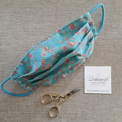 Blue and Pink Chinoiserie Floral Fabric Face Covering/Mask by Letterworth