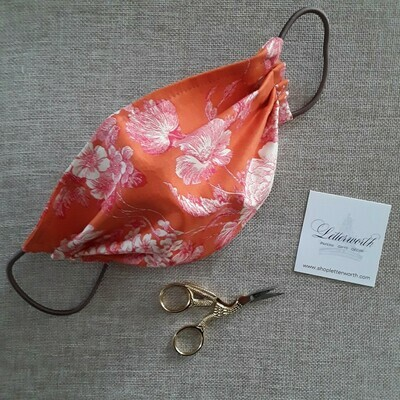 Orange and Pink Floral Fabric Face Covering/Mask by Letterworth