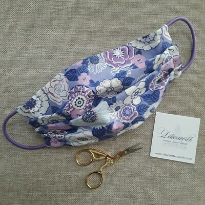Purple Floral Fabric Face Covering/Mask by Letterworth