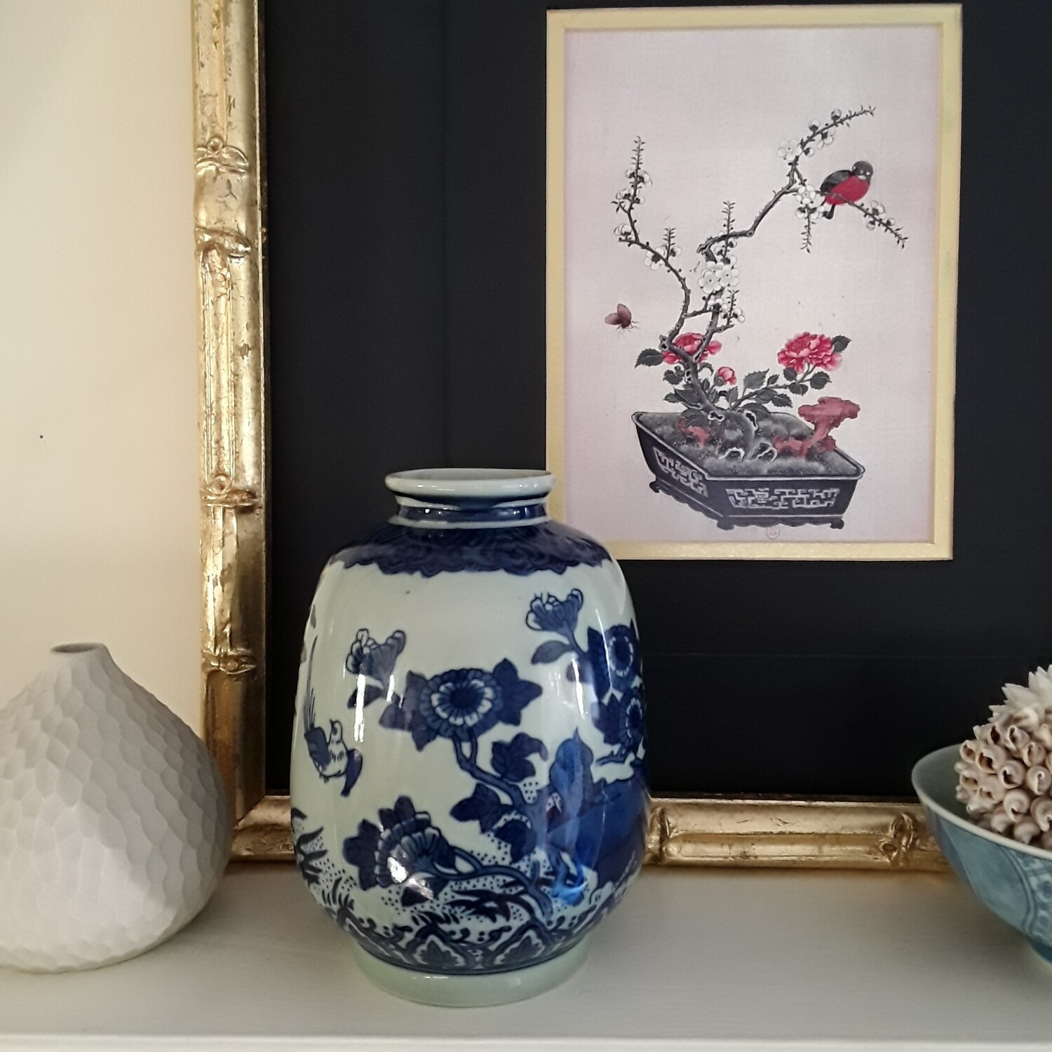 Vintage Blue and White Porcelain Bird Vase