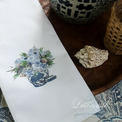 Blue and White Coastal Floral Tea Towel by Letterworth