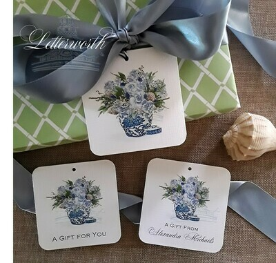 Blue and White Coastal Floral Arrangement Watercolor Gift Tags by Letterworth (Set of 12)