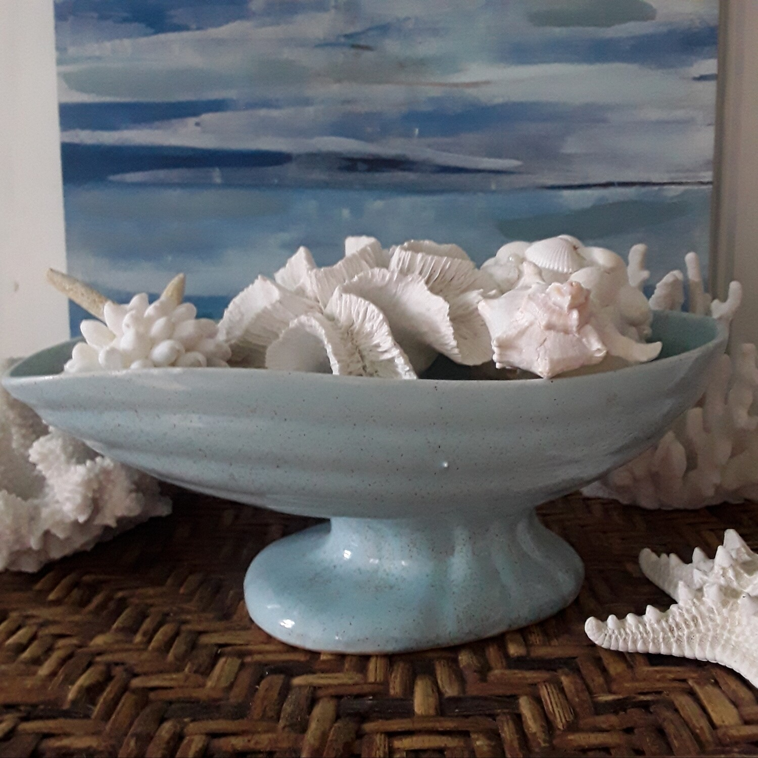 Vintage Brush Mid-century Blue Footed Planter