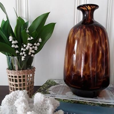 Vintage Tortoiseshell Glass Vase