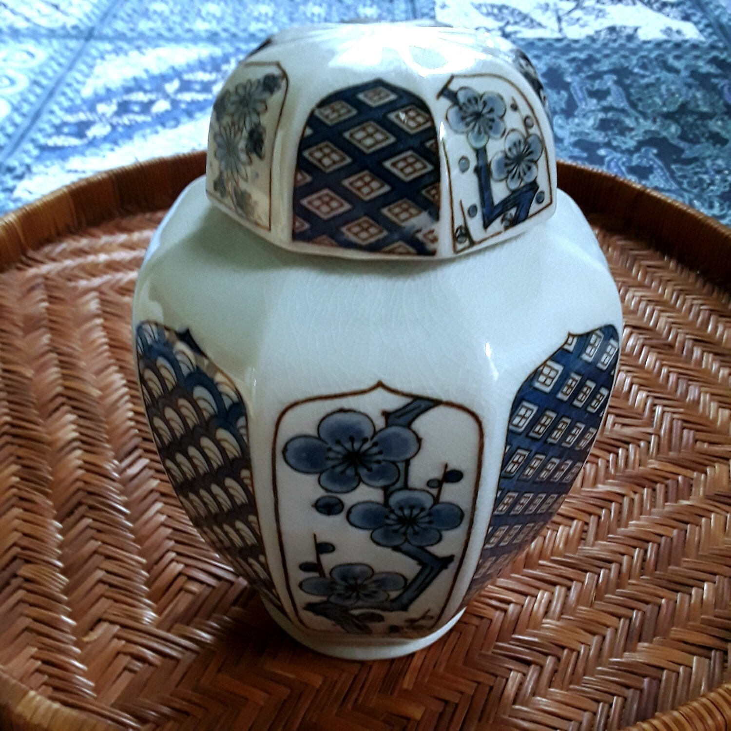 "Vintage Blue and White Porcelain ""Four Seasons"" Japanese Lidded Tea Caddy"