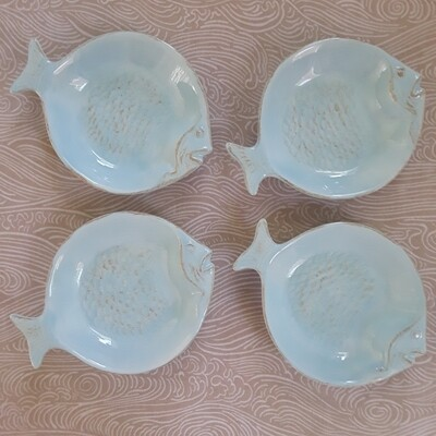 Set of 4 Ceramic Fish Canape Plates