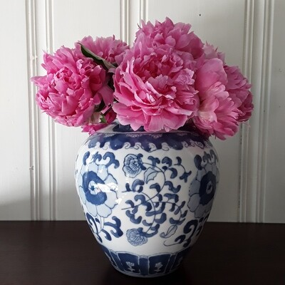 Vintage Blue and White Chinese Porcelain Vase