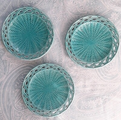 Set of 3 Vintage Turquoise Ceramic Plates Made in Italy