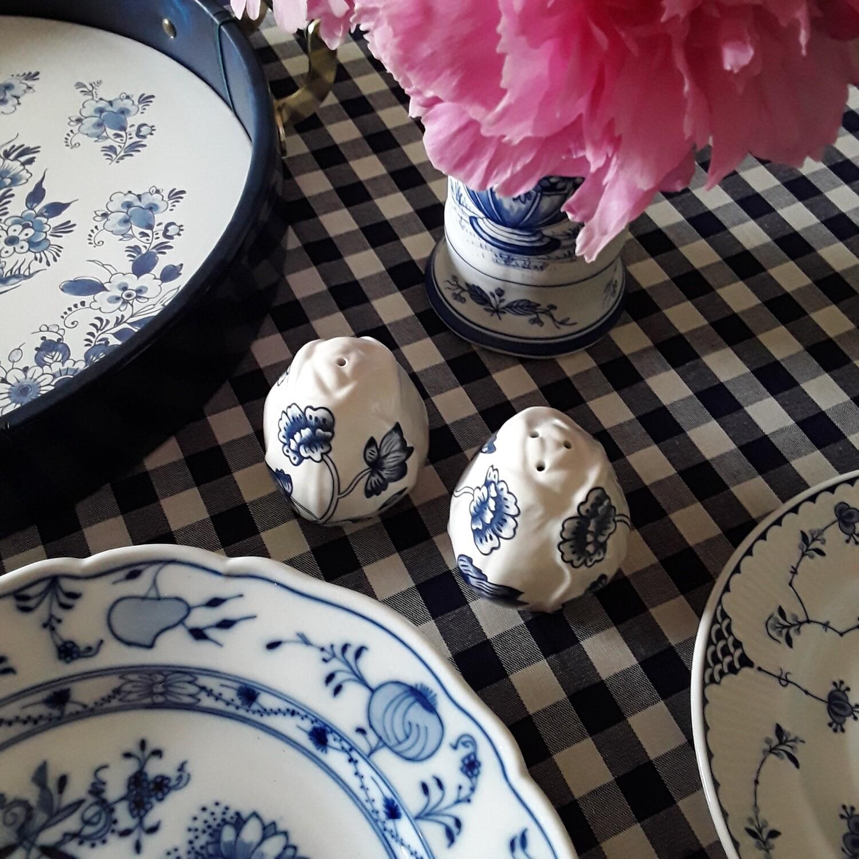 Vintage Blue and White Floral Ceramic Salt and Pepper Shaker Set
