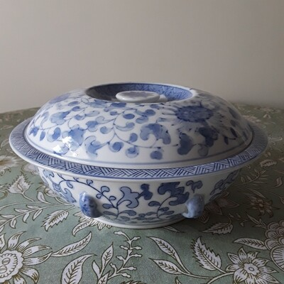 Vintage Blue and White Chinese Porcelain Lidded Serving Dish
