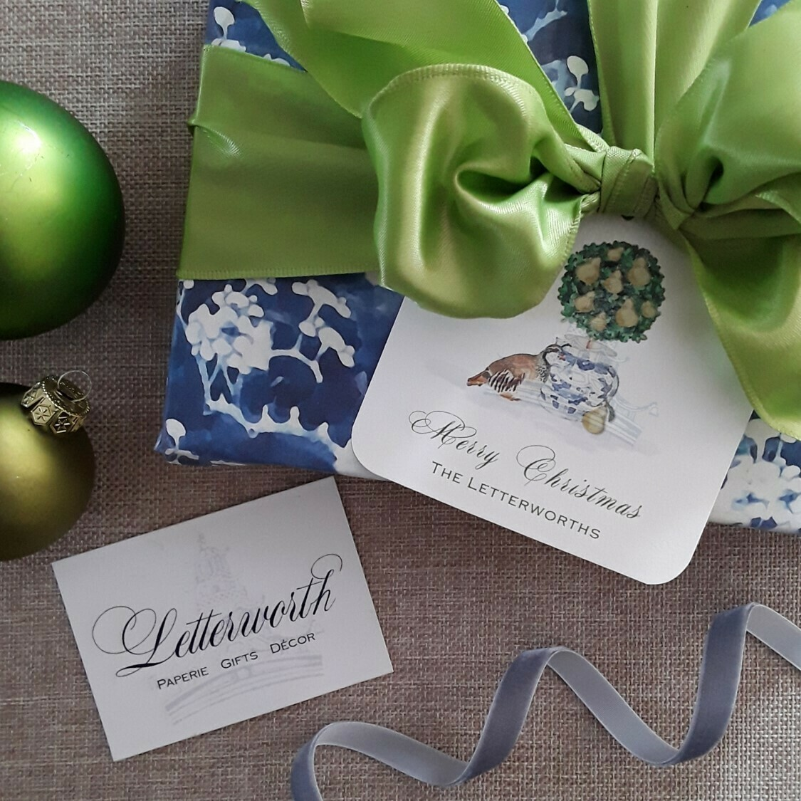 Partridge and Pear Topiary Holiday Gift Tags by Letterworth (Set of 12)