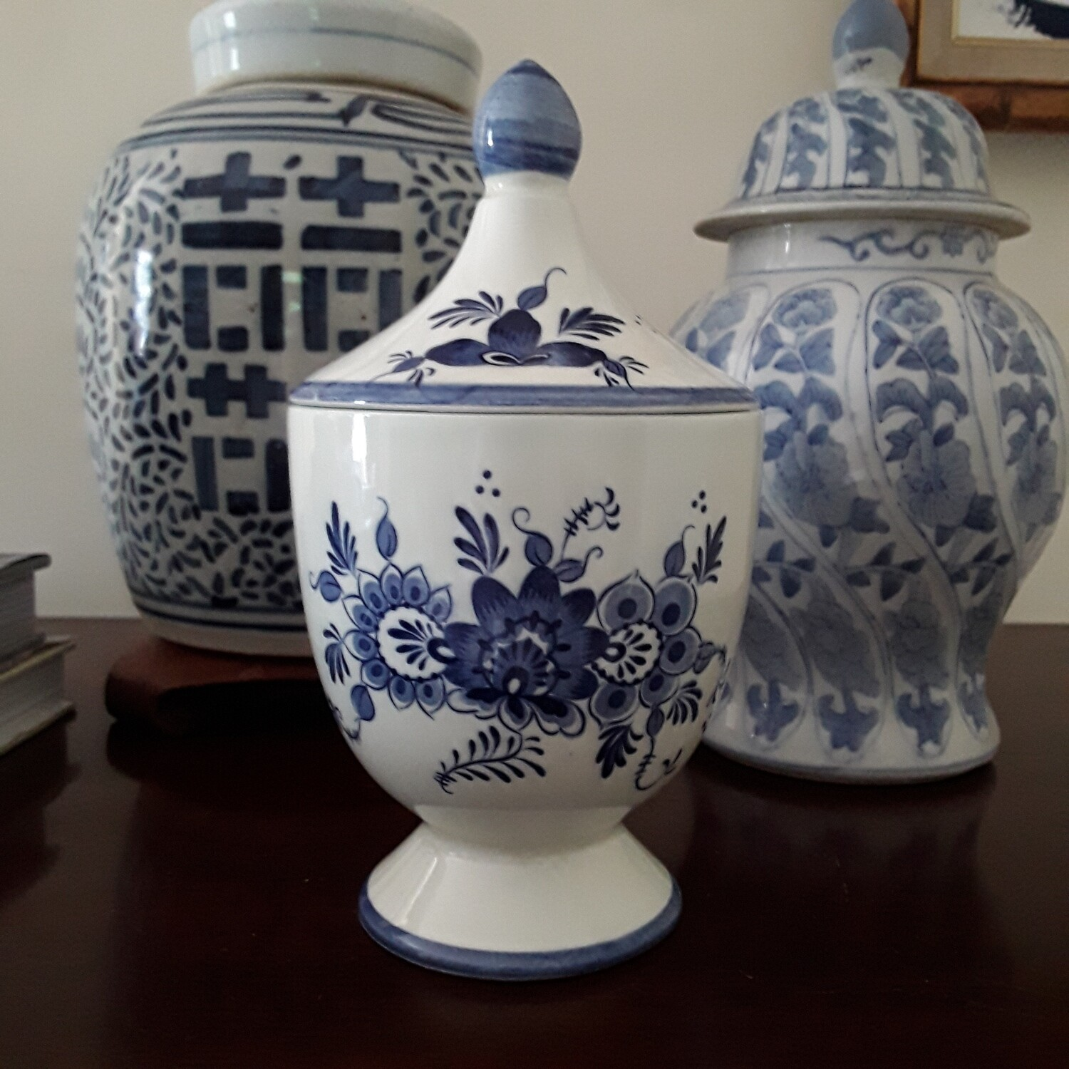 Vintage Delft Footed Canister with Lid