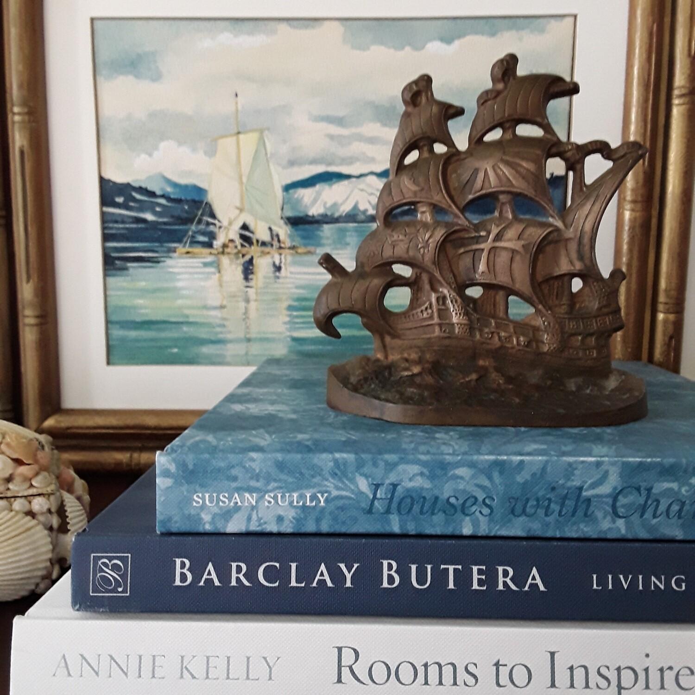 Vintage Cast Bronze Clipper Ship Doorstop