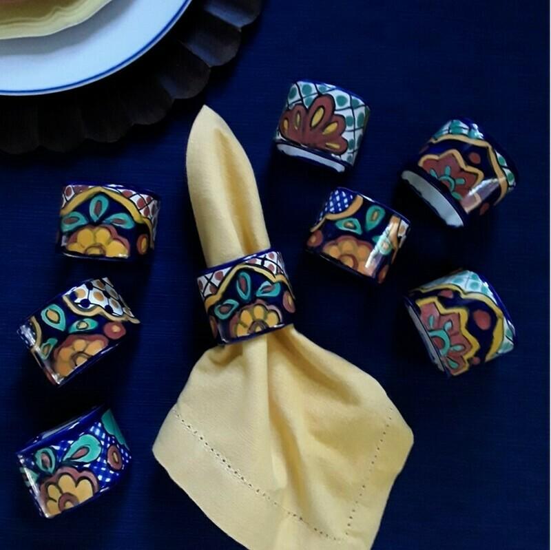 Set of 8 Mexican Talavera Pottery Ceramic Napkin Rings