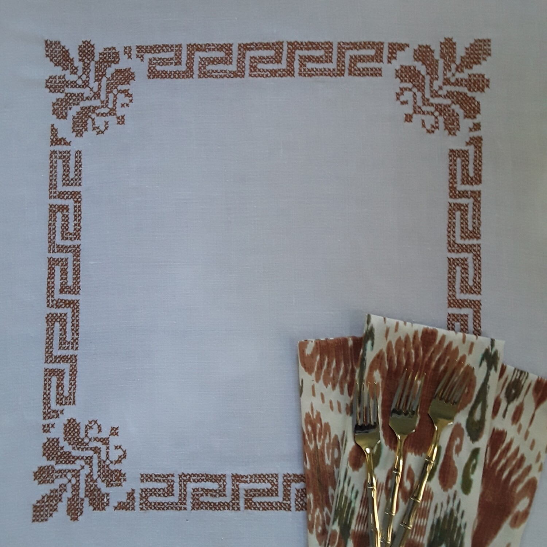 Vintage Handmade Cross-Stitch Greek Key and Leaf Tablecloth