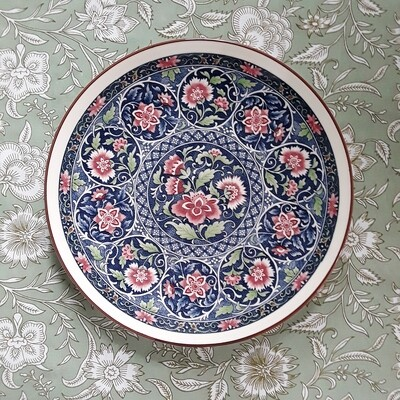 Vintage Japanese Round Floral Platter by Toyo