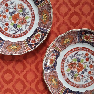 Set of 2 Vintage Imari Plates