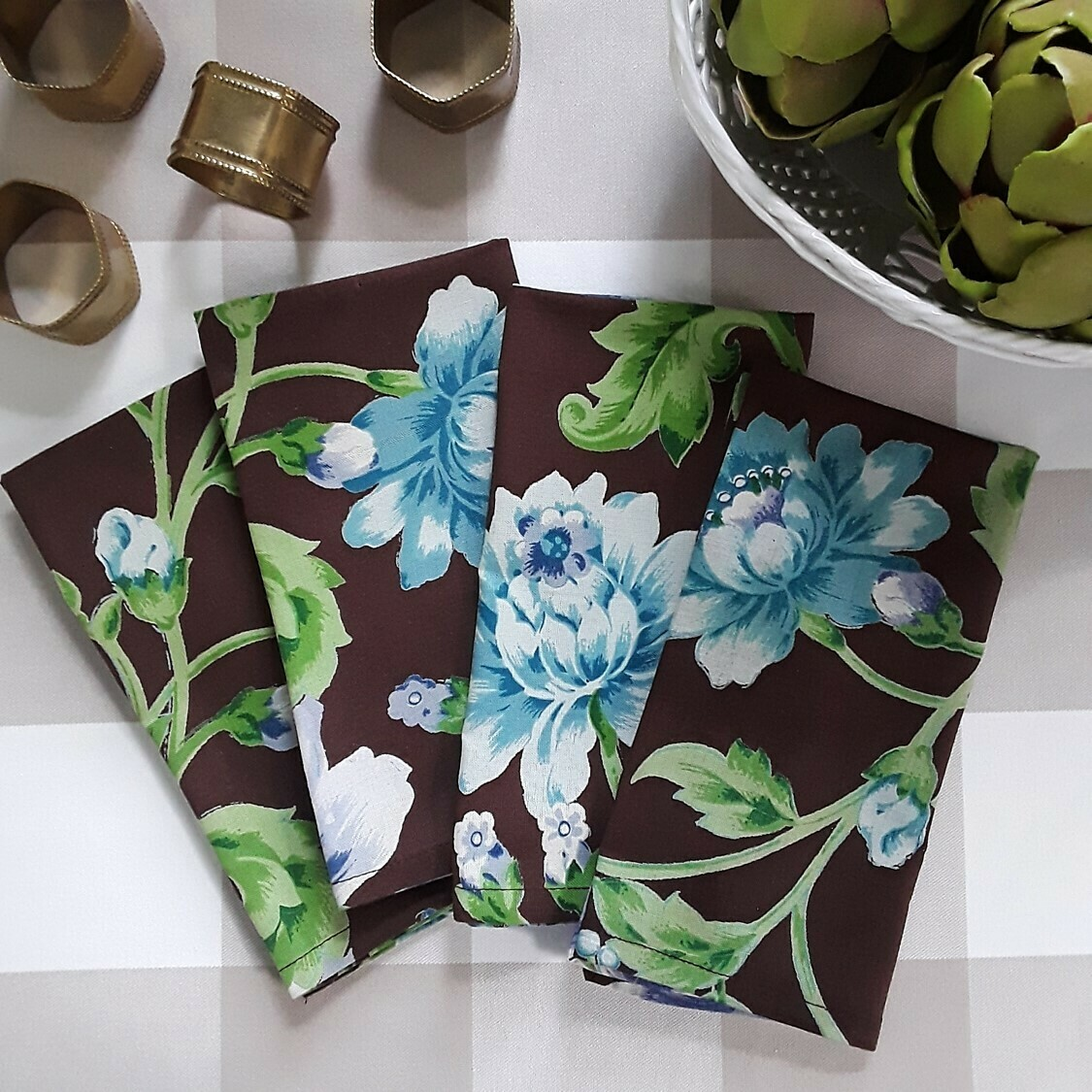 Set of 4 April Cornell Brown Floral Fabric Napkins