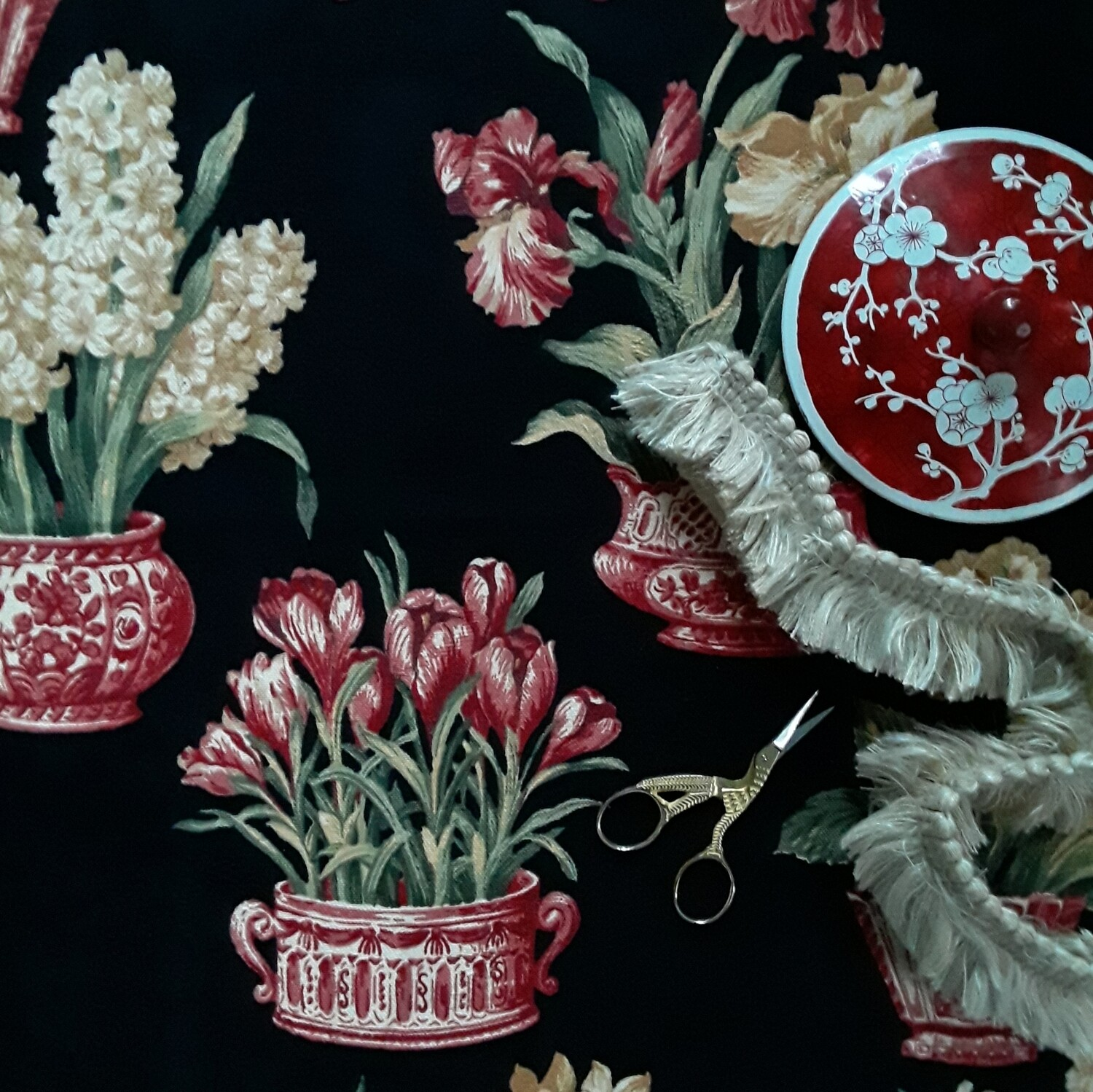 """Red and Black Chinoiserie Kingsway Fabrics  """"Melanie"""" Remnant"""