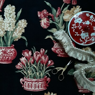 Red and Black Chinoiserie Kingsway Fabrics