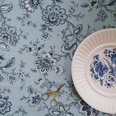 Blue and White Jacobean Floral Fabric by the Yard