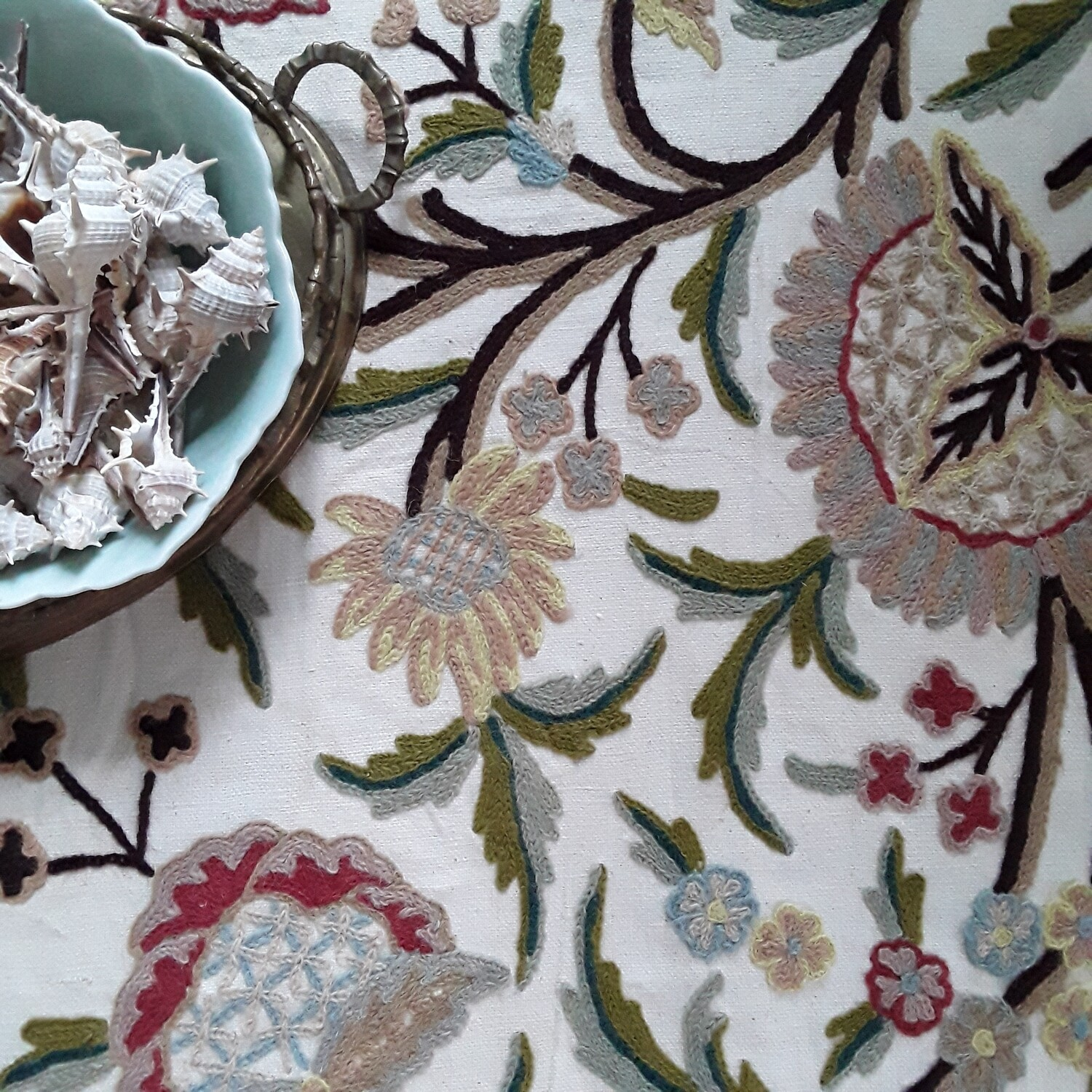 Vintage Crewel Embroidered Fabric Remnant