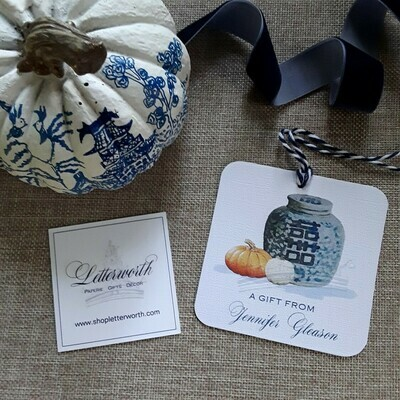 Fall Double Happiness Ginger Jar Watercolor Gift Tags by Letterworth (Set of 12)