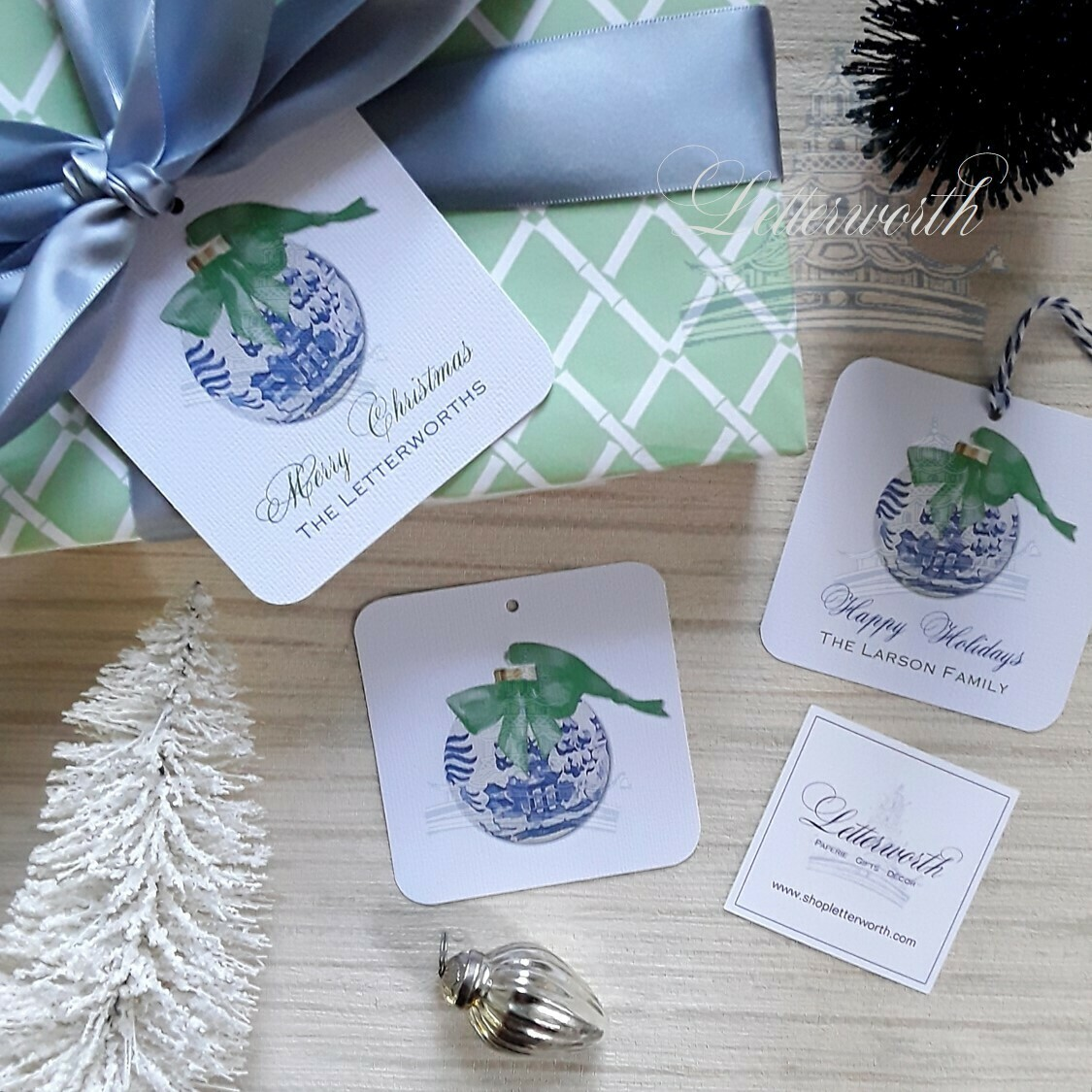 Signature Blue and White Ornament Watercolor Holiday Gift Tags by Letterworth (Set of 12)