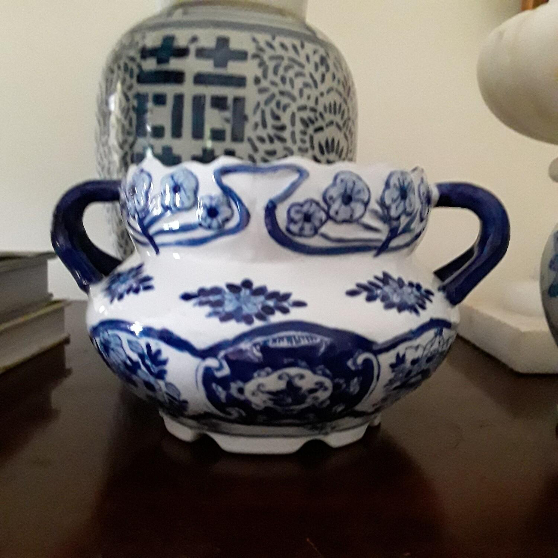 Vintage Blue and White Porcelain Cachepot