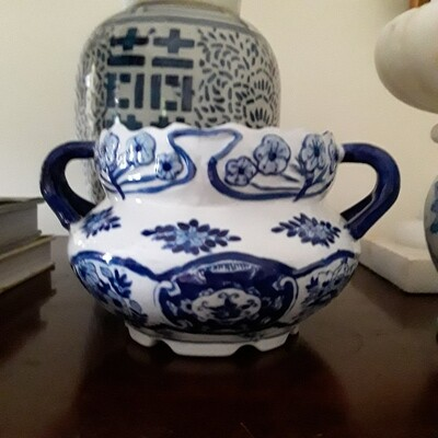 Vintage Blue and White Porcelain Cachepot